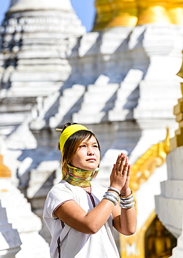 Asian woman doing traditional dance at temple, Mingun, Mingun, Myanmar