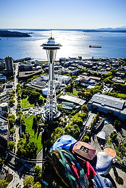 Aerial view of Space Needle in Seattle cityscape, Washington, United States, Seattle, Washington, USA