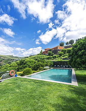 Infinity pool in rural hillside, Peso da Regua, Vila Real, Portugal
