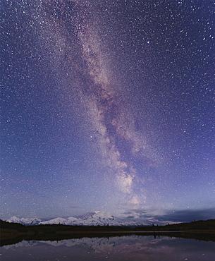 Starry sky over mountain and lake, Denali, Alaska, USA