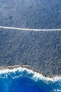 Aerial view of ocean waves on beach, Big Island, Hawaii, United States, Big Island, Hawaii, USA