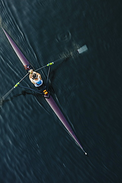 View from above of single scull crew racer, Lake Union, Seattle, Washington, United States of America