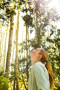 A teenage girl hiker looking up at aspens in woodland with vivid autumnal colour