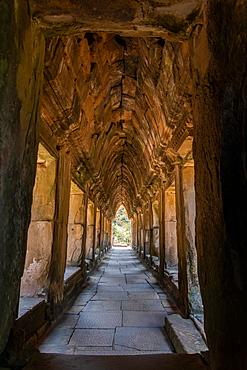 Ancient Corridor At Angkor Wat, Cambodia