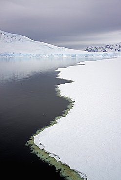 View from above, of melting sea ice off the shores of islands in Antarctica