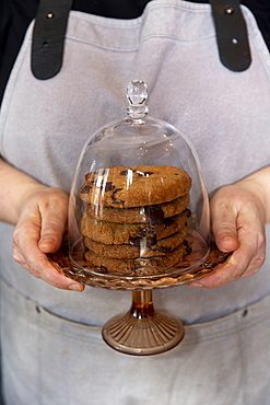 Close up of person wearing apron holding domed glass cake stand with stack of chocolate chip cookies