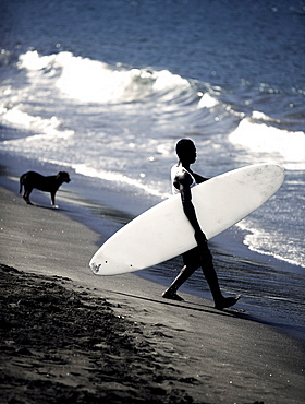 Side view of man on sandy beach carrying surfboard into ocean waves, dog standing in the background