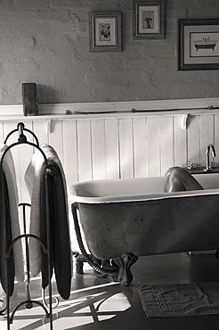 Antique claw-foot tub in a hotel bathroom in Zambia