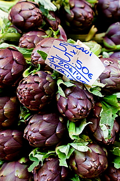 High angle close up of artichokes on market stall, Bologna, Emilia-Romagna, Italy, Emilia-Romagna, Italy
