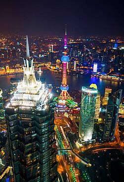 Aerial view of the Pudong Financial district at dusk, Shanghai, China, China