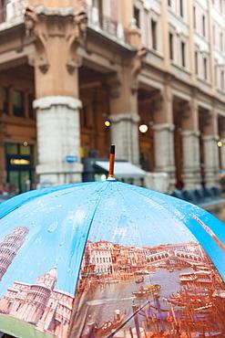 Umbrella depicting Italian landmarks, Florence, Italy