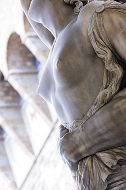 Close-up of torso of classical stone statue