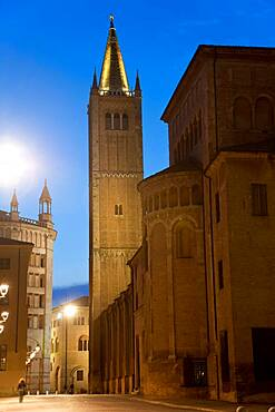 Piazza Duomo, cathedral and baptistery in the centre of Parma at dusk