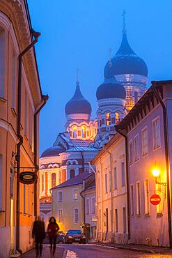 Alexander Nevsky Church in the Old Town at dusk, Tallinn, Estonia