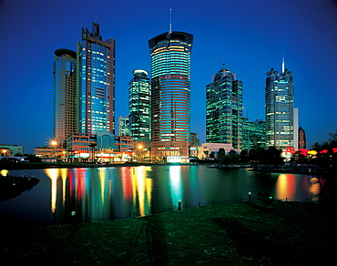 Lujiazui financial district in Pudong, Shanghai