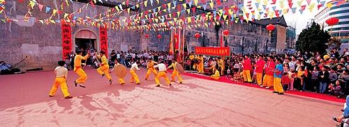 Hakka martial art exercisers in Shenzhen, Guangdong
