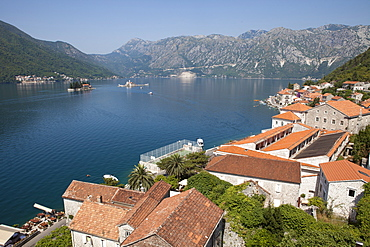 View from St. Nicholas Church with St. George Island and Our Lady of the Rocks, Bay of Kotor, UNESCO World Heritage Site, Montenegro, Europe