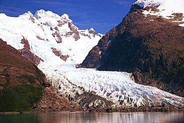 A glacier near Puerto Natales in Chilean Fjordland, Magallanes, Chile, South America