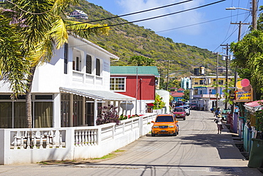 The main street in Clifton, Union Island, The Grenadines, St. Vincent and The Grenadines, West Indies, Caribbean, Central America