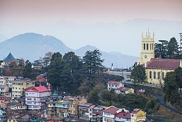 View of city looking towards the Ridge and Christ Church, Shimla (Simla), Himachal Pradesh, India, Asia