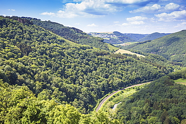 View of countryside and railway line from Bourscheid Castle, Bourscheid, Luxembourg, Europe