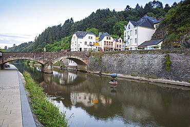 View of Vianden and Our River, Vianden, Luxembourg, Europe