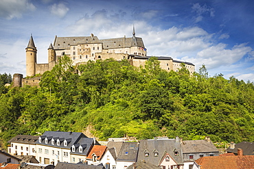 View of Vianden Castle above the town, Vianden, Luxembourg, Europe
