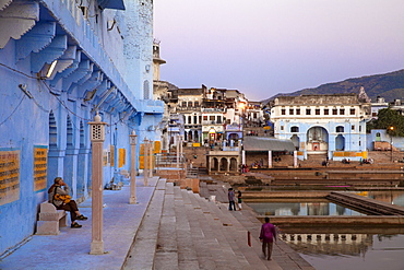 Bathing ghats, Pushkar, Rajasthan, India, Asia
