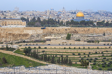 View of Mount of Olives and Dome of the Rock, Jerusalem, Israel Middle East