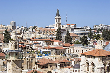 View of Christian Quarter and the Church of the Holy Sepulchre, Old City, UNESCO World Heritage Site, Jerusalem, Israel, Middle East
