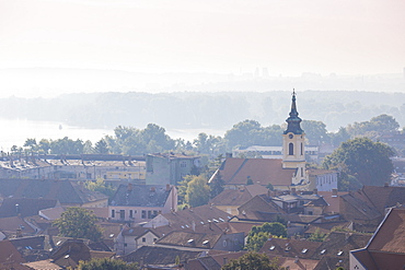 View of Zemun rooftops, Crkva Uznesenja blazene Djevice Marije Church and the Danube River, Zemun, Belgrade, Serbia, Europe