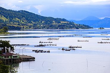 Looking towards Ambarita, Lake Toba, Samosir Island, Sumatra, Indonesia, Southeast Asia, Asia