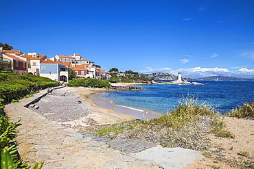Porto Faro beach and lighthouse, Palau, Sassari Province, Sardinia, Italy, Mediterranean, Europe