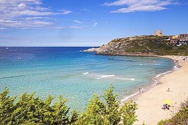 Rena Bianca beach and Longosardo Tower, Santa Teresa Gallura, Sardinia, Italy, Mediterranean, Europe