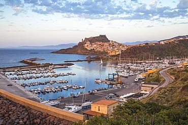 View over marina towards ancient castle, Castelsardo, Sassari Province, Sardinia, Italy, Mediterranean, Europe