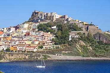View towards ancient castle, Castelsardo, Sassari Province, Sardinia, Italy, Mediterranean, Europe