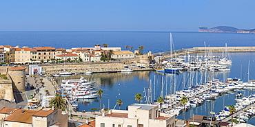 View of marina, Alghero, Sardinia, Italy, Mediterranean, Europe