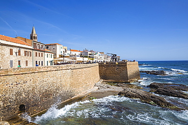 View of ancient city walls and the historical center, Alghero, Sardinia, Italy, Mediterranean, Europe