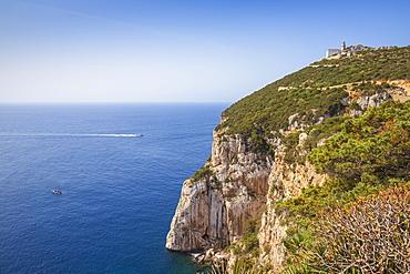 Capo Caccia Lighthouse, Capo Caccia, Porto Conte National Park, Alghero, Sardinia, Italy, Mediterranean, Europe