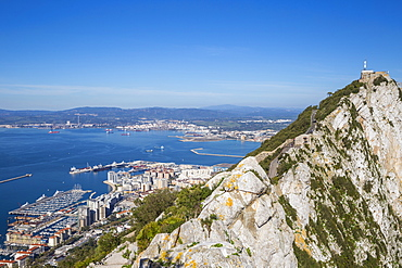 View of Gibraltar Rock, with La Linea, Spain in the distance, Gibraltar, Mediterranean, Europe