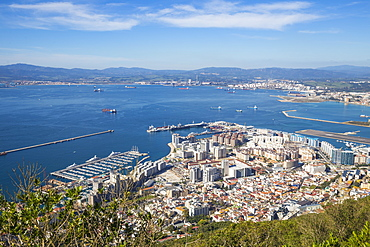 View from Gibraltar Rock, Gibraltar, Mediterranean, Europe