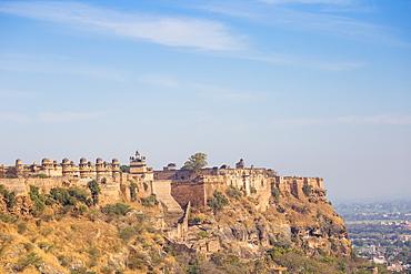 View of Gwalior Fort and Man Singh Palace, Gwalior, Madhya Pradesh, India, Asia