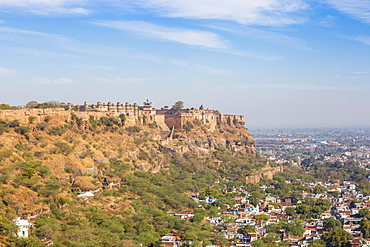View of Gwalior Fort and Man Singh Palace, Gwalior, Madhya Pradesh, India, Asia