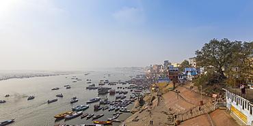 View of Varanasi Ghats and Ganges River, Varanasi, Uttar Pradesh, India, Asia