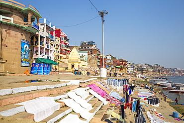 View of Varanasi and Ganges River, Varanasi, Uttar Pradesh, India, Asia
