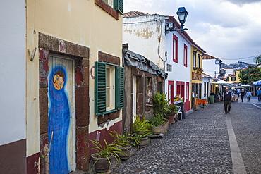 Painted doors in Rue Da Santa Maria, Funchal, Madeira, Portugal, Atlantic, Europe