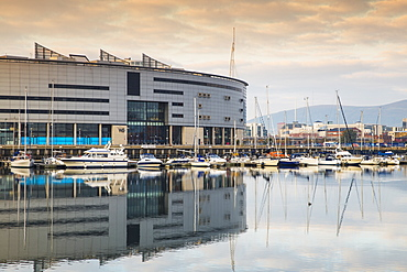 W5 Science and Discovery Centre reflecting in Belfast Harbour Marina, Belfast, Ulster, Northern Ireland, United Kingdom, Europe