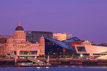 View of Liverpool skyline, Liverpool, Merseyside, England, United Kingdom, Europe
