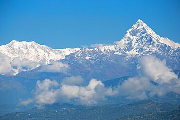 Nepal, Pokara, View of Machupuchara