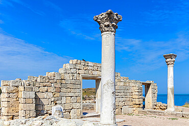 Ukraine, Crimea, Sevastopol, Ruins of Ancient City of Khersoness, Ancient theatre